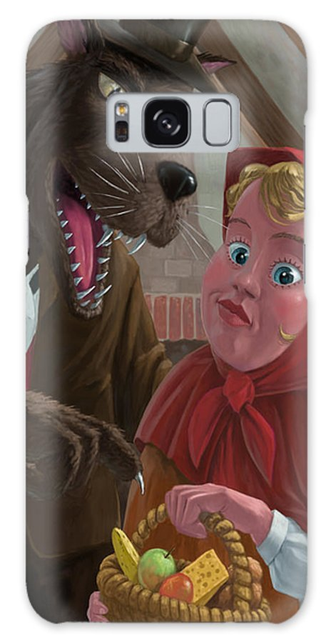 Nursery Galaxy S8 Case featuring the painting Little Red Riding Hood With Nasty Wolf by Martin Davey