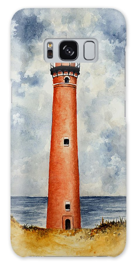 Lighthouse Galaxy S8 Case featuring the painting Little Sable Point Lighthouse by Michael Vigliotti