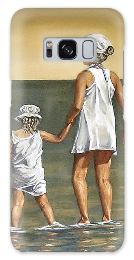 Little Girl Reflection Girls Kids Figurative Water Sea Seascape Children Portrait Galaxy Case featuring the painting Little Sisters by Natalia Tejera