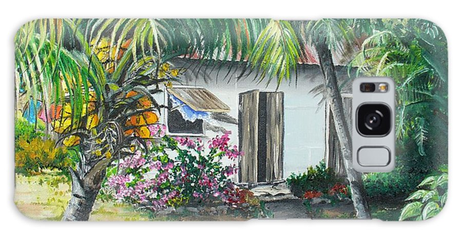 Caribbean Painting Typical Country House In Trinidad And The Islands With Coconut Tree Tropical Painting Galaxy Case featuring the painting Little West Indian House 2...sold by Karin Dawn Kelshall- Best