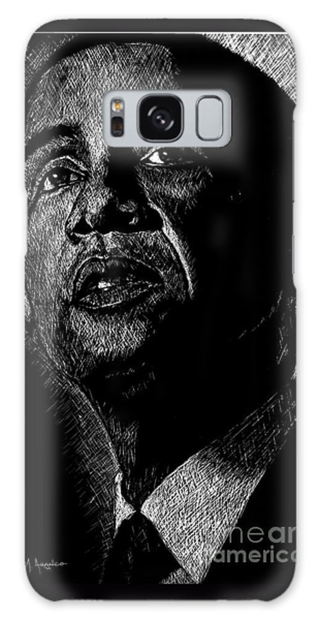 Barack Obama Galaxy S8 Case featuring the drawing Living The Dream by Maria Arango
