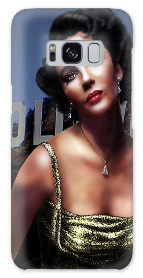 Elizabeth Taylor Galaxy S8 Case featuring the digital art Liz Taylor by Virginia Palomeque