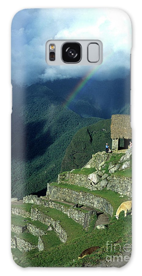 Machu Picchu Galaxy S8 Case featuring the photograph Llama And Rainbow At Machu Picchu by James Brunker