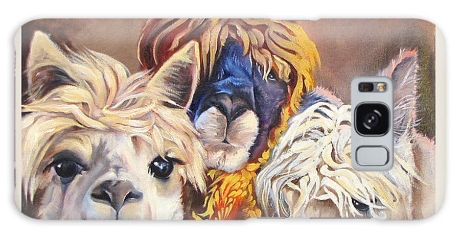 Llamas Galaxy S8 Case featuring the painting Llama Love by Carole Robare