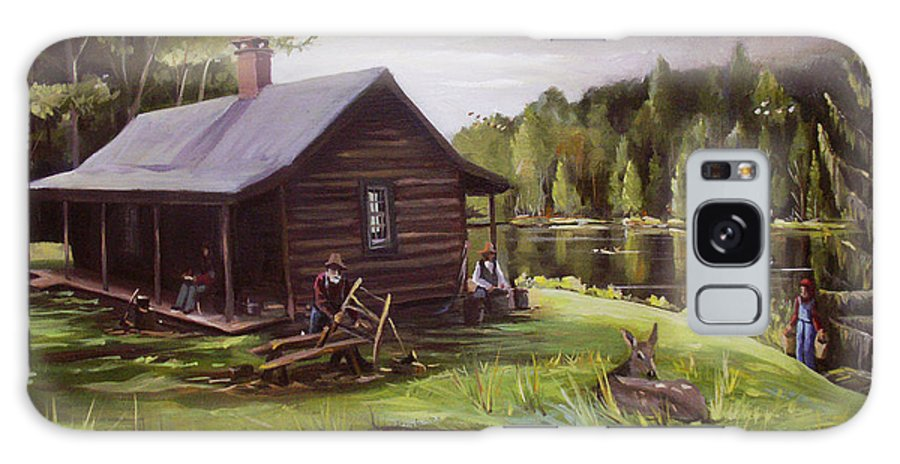 Log Cabin Galaxy S8 Case featuring the painting Log Cabin By The Lake by Nancy Griswold