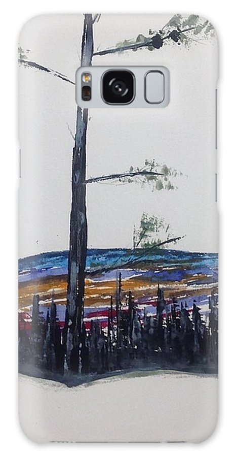 Winter Landscape Watercolour Painting Galaxy S8 Case featuring the painting Lone Pine Over The Valley by Desmond Raymond