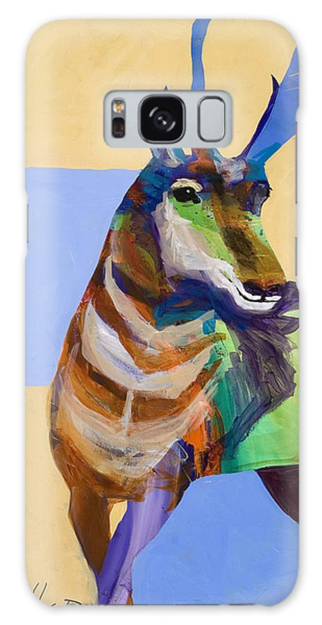 Proghorn Galaxy S8 Case featuring the painting Lone Pronghorn by Tracy Miller