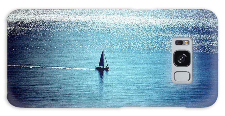 Lone Sailboat Galaxy S8 Case featuring the photograph Lone Sailboat At Dawn by Anthony Robinson