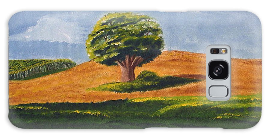 Tree Galaxy S8 Case featuring the painting Lone Tree by Mendy Pedersen