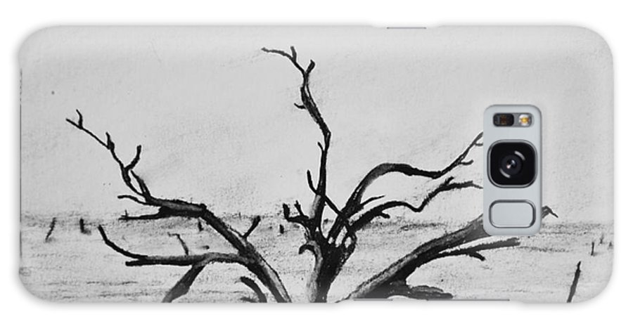 Dead Trees Galaxy Case featuring the drawing Lone Tree by Regan J Smith