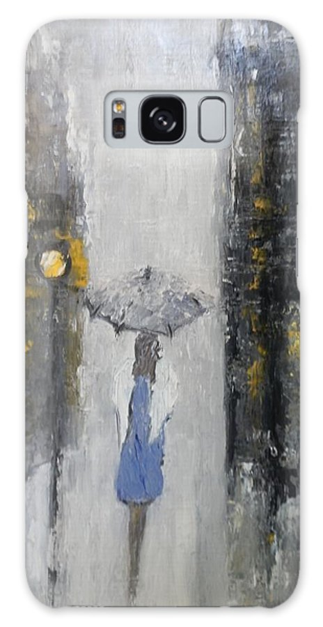 City Galaxy S8 Case featuring the painting Lonely On A Street by Maria Karalyos