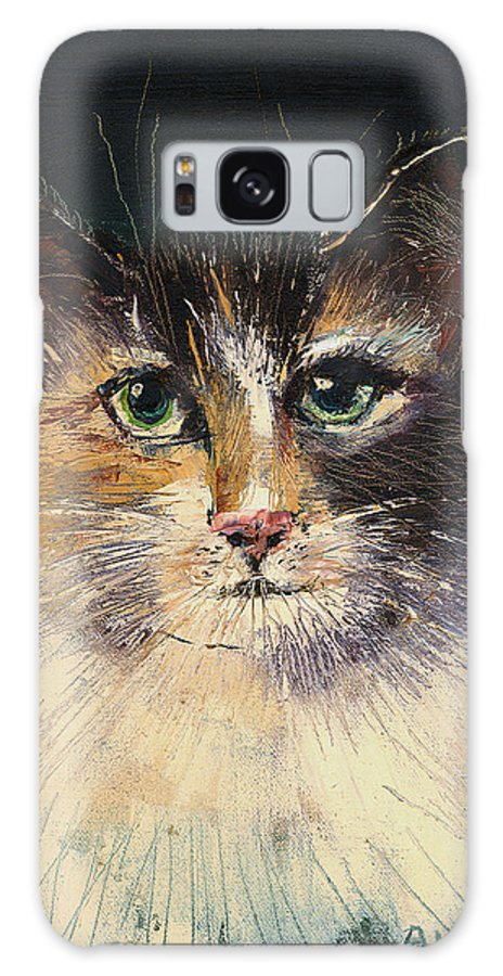 Cat Galaxy S8 Case featuring the painting Long Haired Cat by Arline Wagner