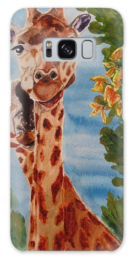 Giraffes Galaxy Case featuring the painting Lookin Back by Karen Ilari