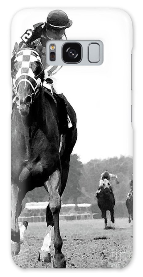Looking Back Galaxy Case featuring the mixed media Looking back, 1973 Secretariat, stretch run, Belmont Stakes by Thomas Pollart