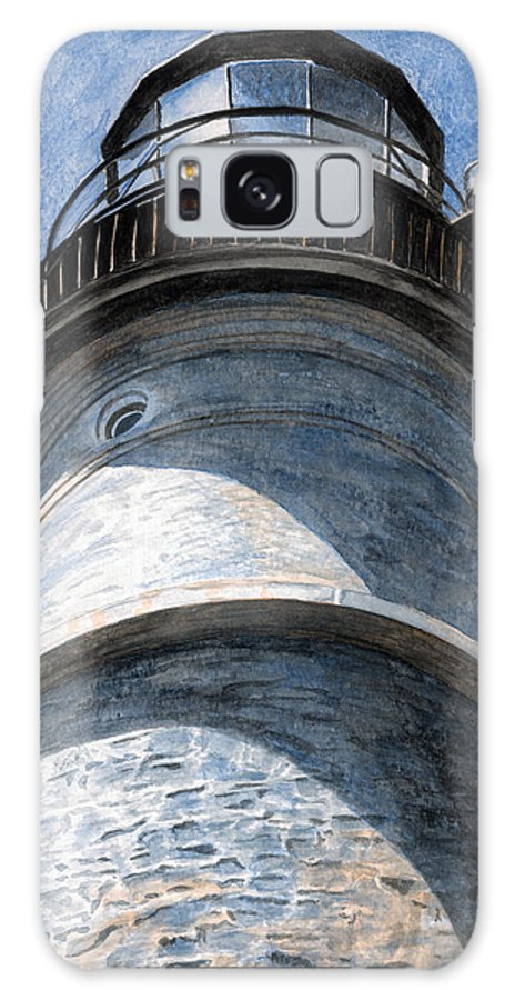 Lighthouse Galaxy Case featuring the painting Looking Up Portland Head Light by Dominic White