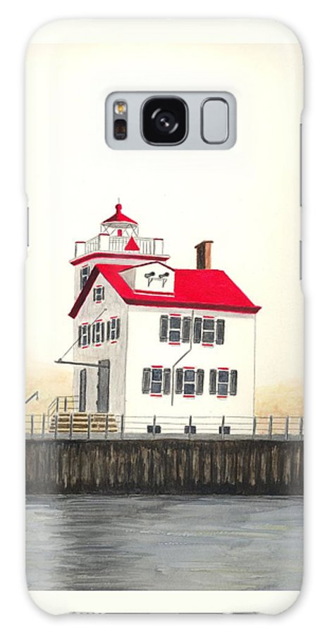 Lighthouse Galaxy S8 Case featuring the painting Lorain Lighthouse by Michael Vigliotti