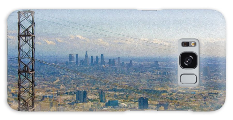 Los Angeles Galaxy S8 Case featuring the photograph Los Angeles Skyline Between Power Lines by David Zanzinger