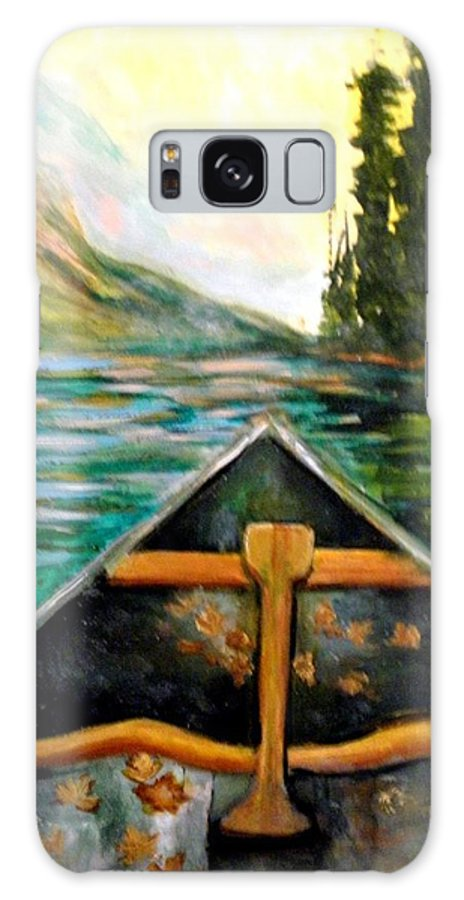 #canoe Galaxy S8 Case featuring the painting Lost In Nature by Linda Waidelich