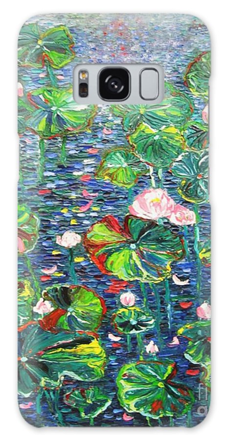 Water Lily Paintings Galaxy Case featuring the painting Lotus Flower Water Lily Lily Pads Painting by Seon-Jeong Kim