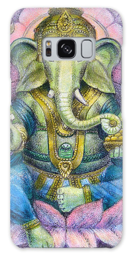 Lord Ganesha Galaxy S8 Case featuring the painting Lotus Ganesha by Sue Halstenberg