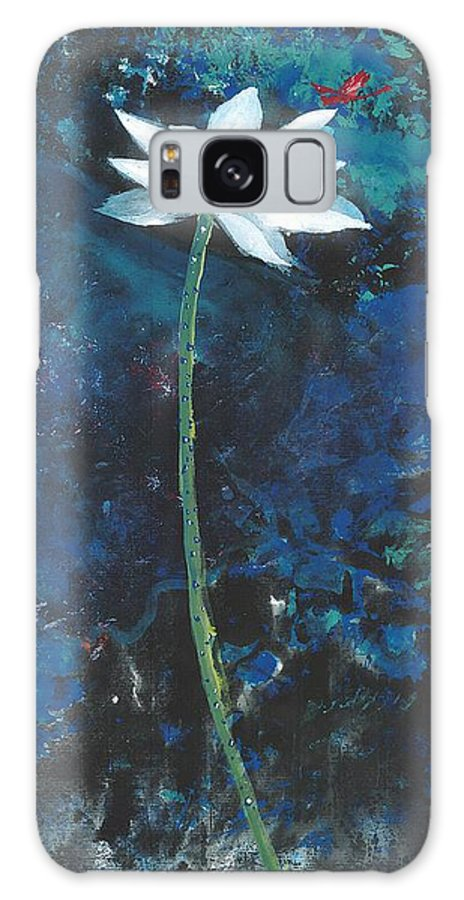 White Lotus Flower With A Red Dragonfly In Dreamy Green Background. This Is A Contemporary Chinese Ink And Color On Rice Paper Painting With Simple Zen Style Brush Strokes.  Galaxy S8 Case featuring the painting Lotus IIi by Mui-Joo Wee