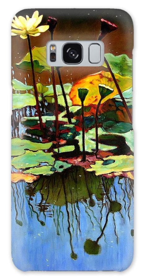 Lotus Flower Galaxy S8 Case featuring the painting Lotus In July by John Lautermilch