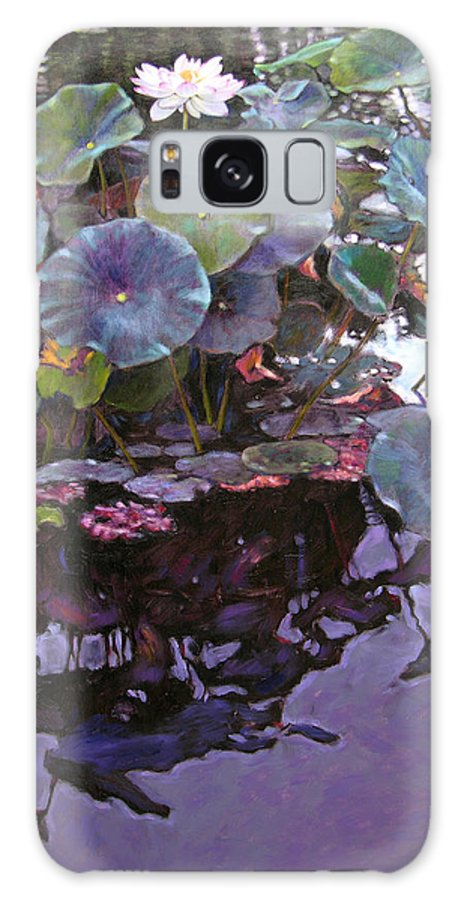 Lotus Flower Galaxy S8 Case featuring the painting Lotus Reflections by John Lautermilch