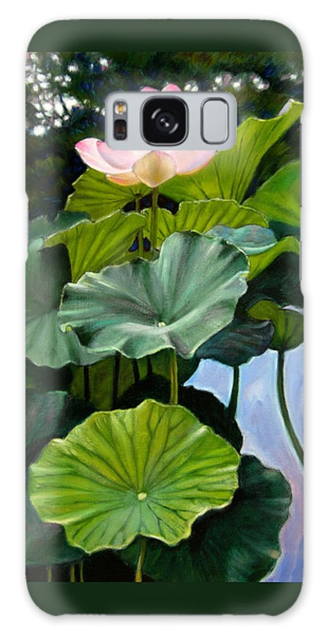 Lotus Flower Galaxy Case featuring the painting Lotus Rising by John Lautermilch