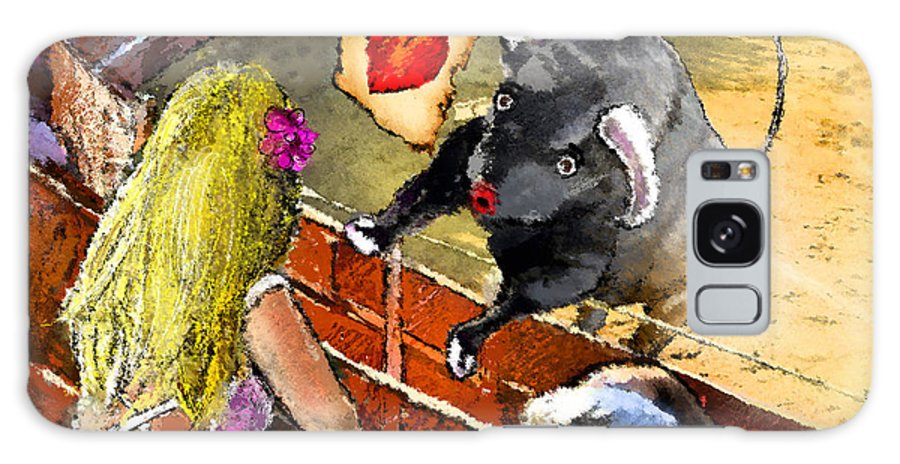 Bullfight Galaxy S8 Case featuring the painting Lova Bull by Miki De Goodaboom
