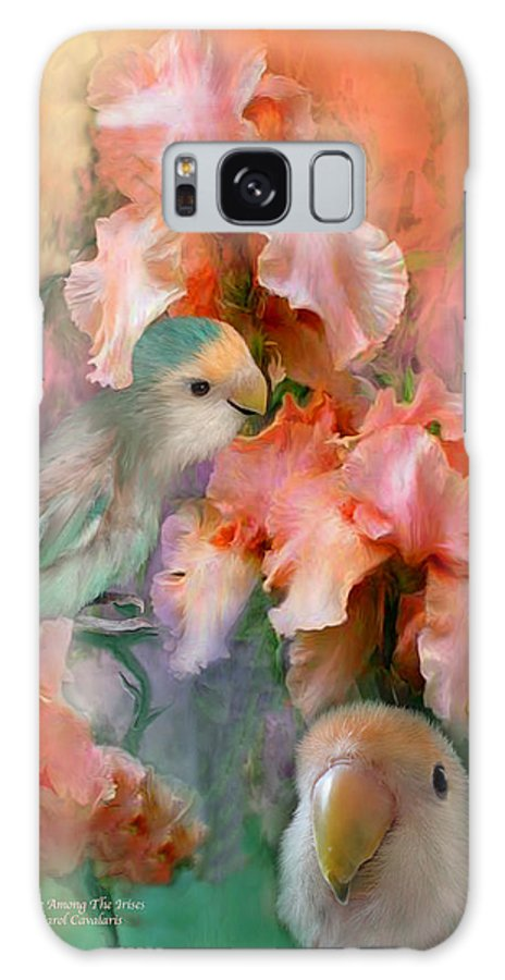 Lovebird Galaxy S8 Case featuring the mixed media Love Among The Irises by Carol Cavalaris