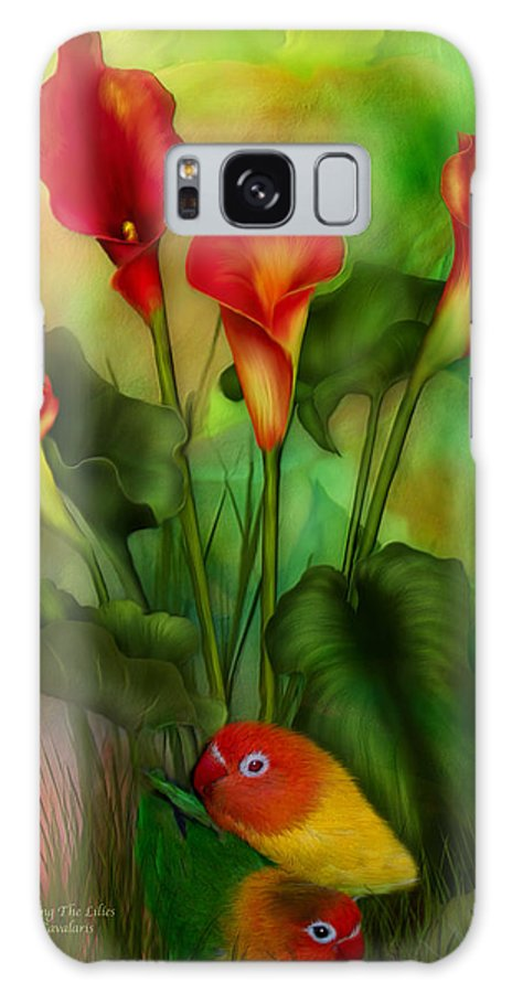Lovebird Galaxy S8 Case featuring the mixed media Love Among The Lilies by Carol Cavalaris