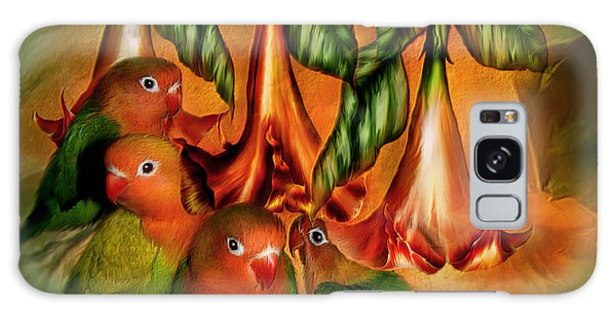 Lovebird Galaxy S8 Case featuring the mixed media Love Among The Trumpets by Carol Cavalaris