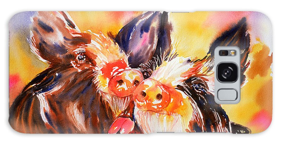 Pig Galaxy S8 Case featuring the painting Love At First Snout by Tara Moorman