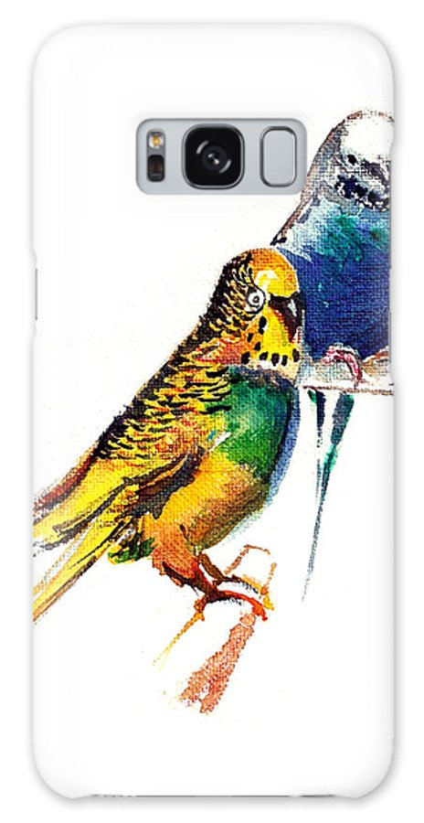 Nature Galaxy Case featuring the painting Love Birds by Anil Nene