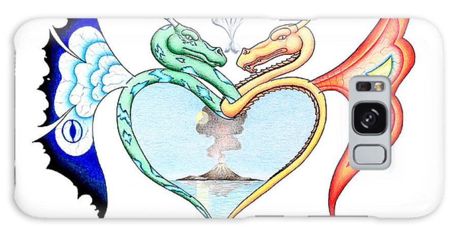 Fantasy Galaxy Case featuring the drawing Love Dragons by Robert Ball