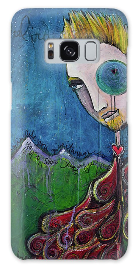 Birdman Galaxy S8 Case featuring the painting Love For Birdman by Laurie Maves ART