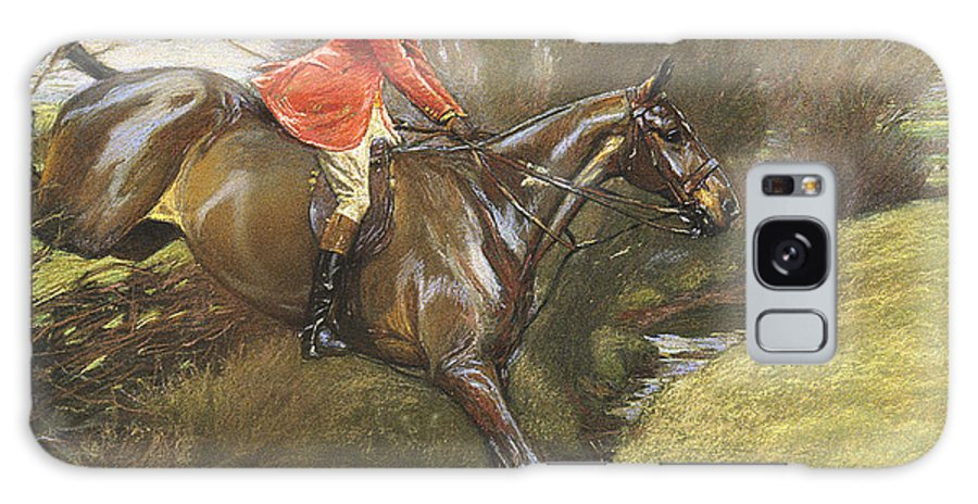 Lt. Col. Ted Lyon Jumping A Hedge Galaxy S8 Case featuring the painting Lt Col Ted Lyon Jumping A Hedge by Cecil Charles Windsor Aldin