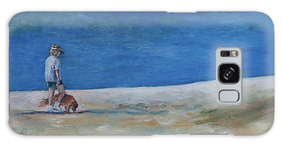 Golden Retriever Galaxy S8 Case featuring the painting Lucy's Beach by Julie Dalton Gourgues