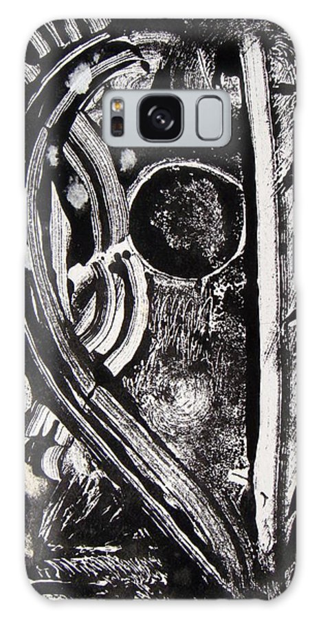 Abstract Galaxy S8 Case featuring the painting Lune Noire by Muriel Dolemieux