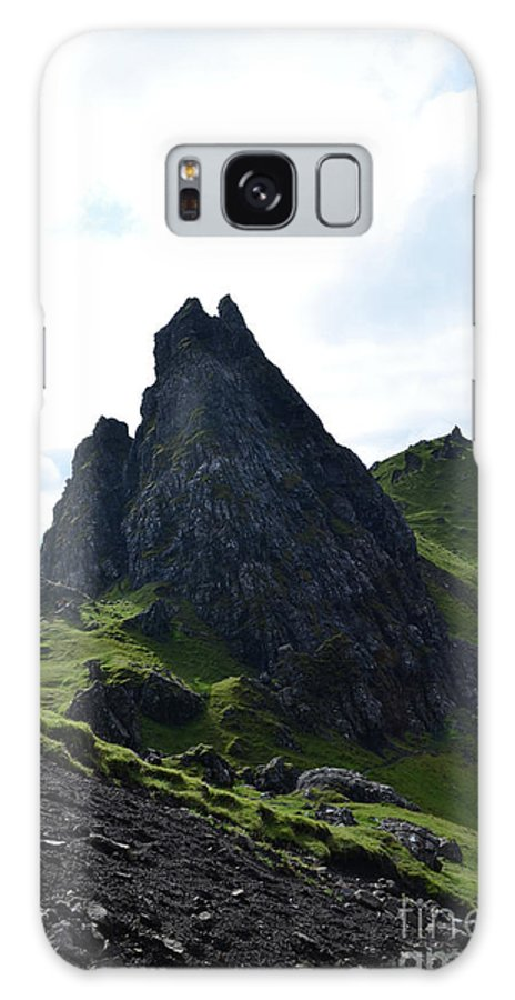 Old Man Of Storr Galaxy S8 Case featuring the photograph Lush Green Lanscape With Pinnacle Rocks by DejaVu Designs