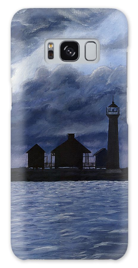 Landscape Galaxy S8 Case featuring the painting Lydia Ann Lighthouse by Adam Johnson