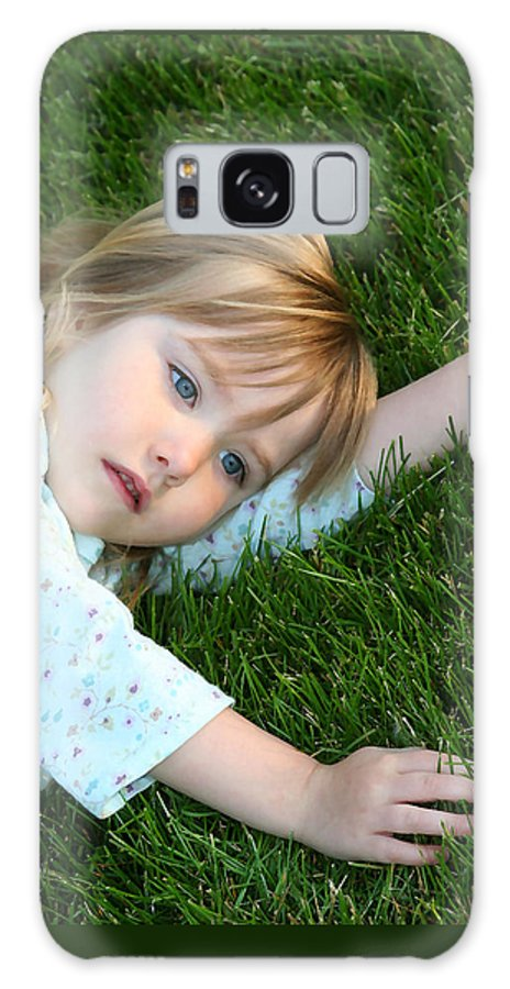 Girl Galaxy S8 Case featuring the photograph Lying In The Grass by Margie Wildblood