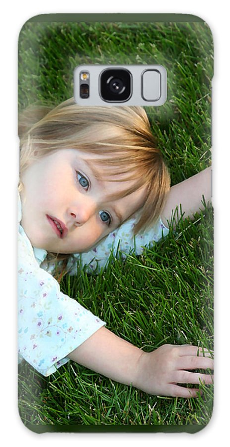 Girl Galaxy Case featuring the photograph Lying In The Grass by Margie Wildblood