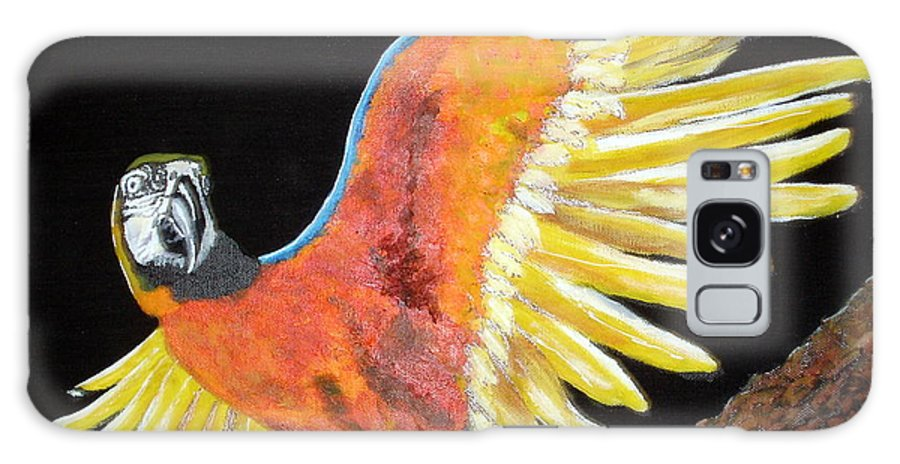 Macaw Galaxy S8 Case featuring the painting Macaw - Wingin' It by Susan Kubes