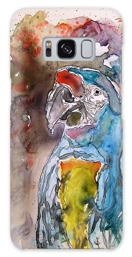 Parrot Galaxy S8 Case featuring the painting Macaw Parrot by Derek Mccrea