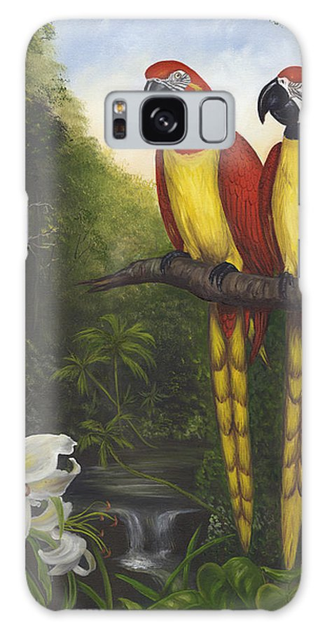 Landscape Galaxy Case featuring the painting Macaws And Lillies by Anne Kushnick