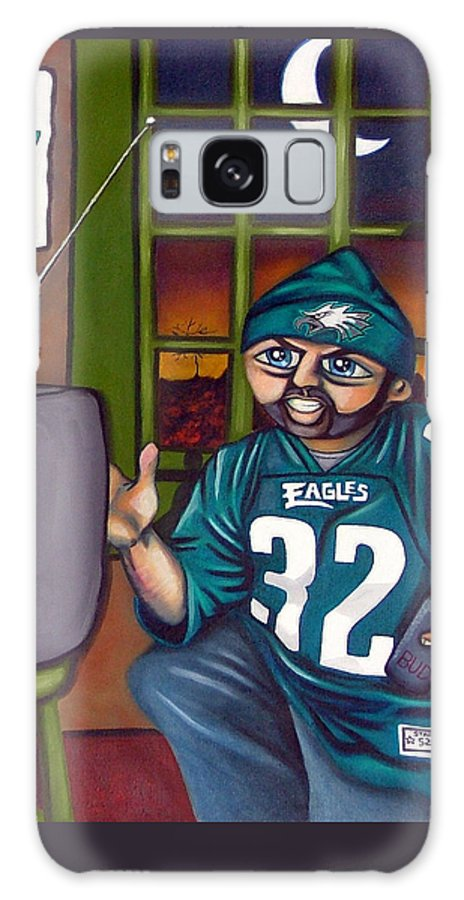 Philadelphia Galaxy S8 Case featuring the painting Mad Philly Fan In Texas by Elizabeth Lisy Figueroa