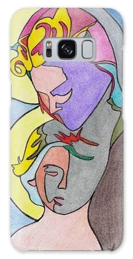 Madonna W/ Child Galaxy Case featuring the drawing Madonna With Child by Loretta Nash