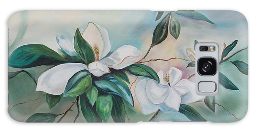 Flowers Galaxy Case featuring the painting Magnolia Summer by Margaret Fortunato