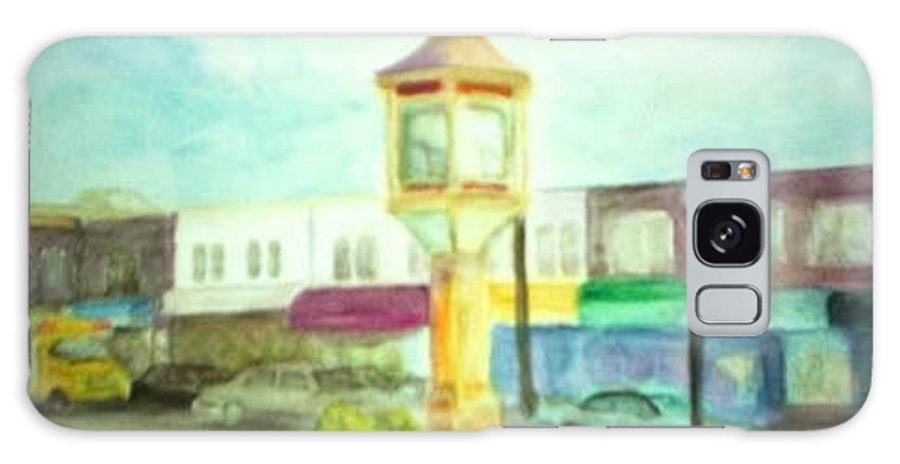 Clock Galaxy Case featuring the painting Main Street by Sheila Mashaw